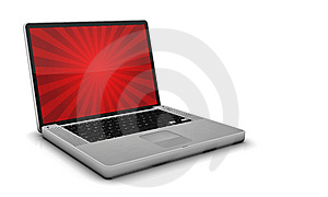 Glossy Steel Laptop On Gray Background Stock Photos - Image: 8412973