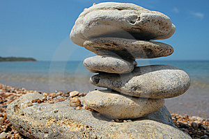 Balanced Stones On Beach Royalty Free Stock Photography - Image: 8414017