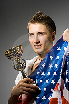 Winner With American Flag Royalty Free Stock Photo - Image: 8414385