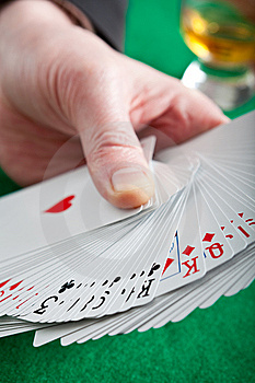 Playing Cards On A Green Cloth Royalty Free Stock Images - Image: 8415099