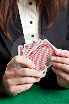 Woman Playing Cards Stock Photo - Image: 8415480