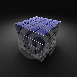 Dark Blue Sectional Cube Royalty Free Stock Image - Image: 8415496