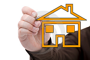 Man Drawing A House Royalty Free Stock Photos - Image: 8419118