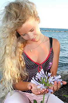 Blond Girl And Flower Royalty Free Stock Images - Image: 8420509