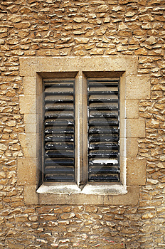 Slatted Window In Sandstone Blocks Stock Photos - Image: 8422343