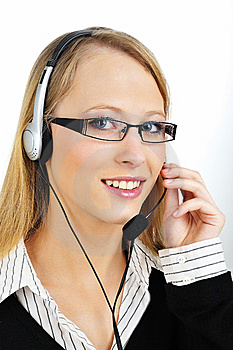 Friendly Customer Representative With Headset Royalty Free Stock Photography - Image: 8423617
