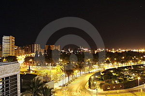 Malaga By Night Stock Photography - Image: 8423842