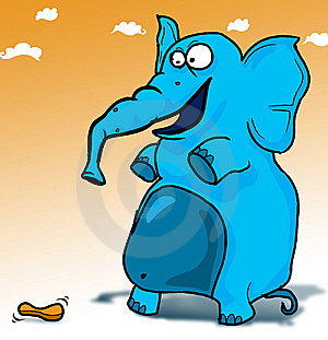 Blue Elephant With Peanut Stock Photography - Image: 8424622