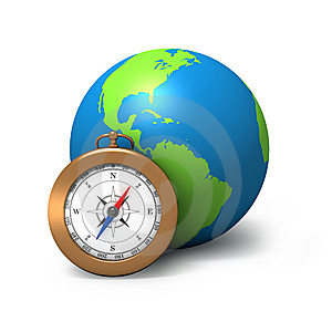 Globe With Compass Royalty Free Stock Photo - Image: 8425105