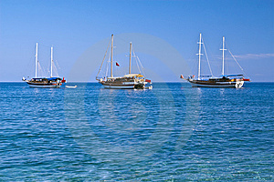 Three Sailboats In Sunny Weather, With Copyspace Stock Photos - Image: 8426483