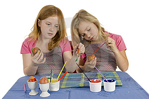 Girls Painting Easter Eggs Stock Image - Image: 8430121
