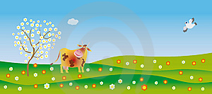 A Cow Admires In Spring Royalty Free Stock Images - Image: 8430599