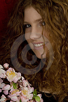 Red Haired Teenager With Red Roses Stock Photos - Image: 8430873