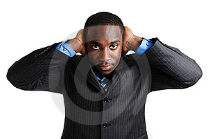 Business Man With Hands On His Ears Royalty Free Stock Images - Image: 8431729