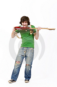 Man Biting The Guitar Stock Images - Image: 8431874