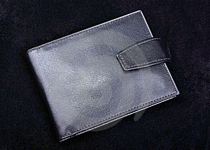 Leather Wallet On Black. Royalty Free Stock Images - Image: 8432879