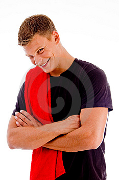 Smiling Handsome Male With Crossed Arms Royalty Free Stock Photography - Image: 8433137