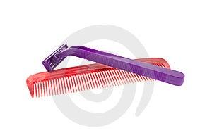 Hairbrush And Razor Stock Photography - Image: 8434592