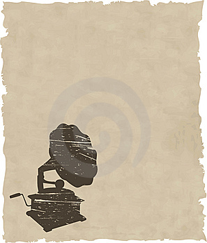 Vector Old Gramophone On Old Paper Royalty Free Stock Image - Image: 8435556