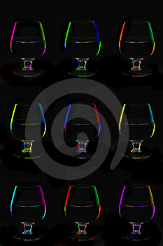 Nine Bocals Over Black Background Royalty Free Stock Photos - Image: 8437668