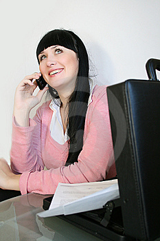 Businesswoman Talks On A Mobile Telephone Stock Images - Image: 8437794