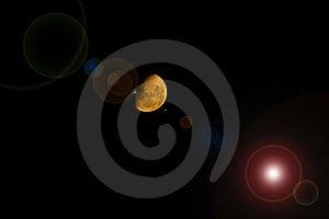 Llamarada Amarilla De La Lente De La Media Luna Foto de archivo - Imagen: 8438220