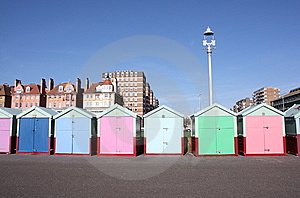 Row Of Beach Huts (Brighton , UK) Royalty Free Stock Photography - Image: 8438267