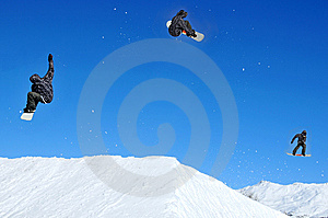 Sequence Of Snowboarder Jumping Stock Photos - Image: 8440113