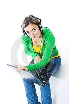 Happy Girl Listening To Music Stock Image - Image: 8440341