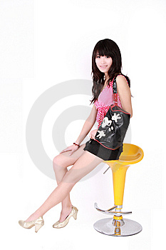 Asian Girl With Handbag Royalty Free Stock Photography - Image: 8440437