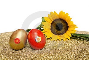Easter Red And Golden Eggs With Sunflower Royalty Free Stock Photos - Image: 8440838