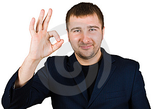 Businessman Show Ok Sing Royalty Free Stock Photo - Image: 8441675