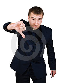 Businessman Show Thumb Down Sing Stock Image - Image: 8441691