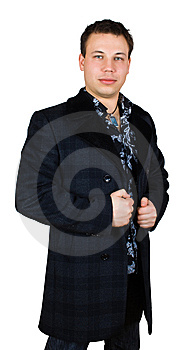 Sad Gentleman In Checkered Coat Royalty Free Stock Photography - Image: 8442187