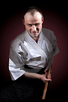Man With Wooden Sword Royalty Free Stock Photos - Image: 8442808