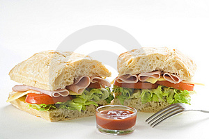 Delicious Sandwich Of Ham Cheese Lettuce Tomato Stock Photography - Image: 8443352