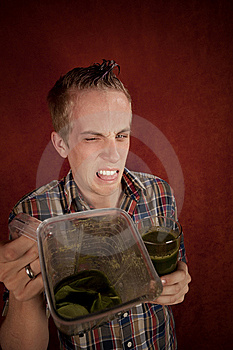 Young Man With Unappetizing Health Shake Stock Photos - Image: 8443973