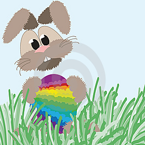 Happy Fluffy Bunny And Easter Rainbow Egg Stock Image - Image: 8444001