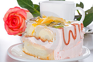 Piece Of Cake With Fruits Rose And Cup Stock Photography - Image: 8444342