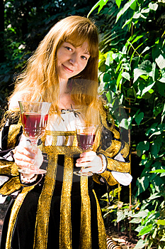 Smiling Young Woman In Renaissance Dress With Vine Royalty Free Stock Photography - Image: 8446447
