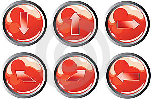 Bottoni Rossi Della Freccia Immagini Stock Libere da Diritti - Immagine: 8446609