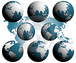 Earth Globes Over Continents. Royalty Free Stock Images - Image: 8448079