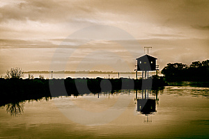 Twilight Bird Hide Royalty Free Stock Image - Image: 8448846