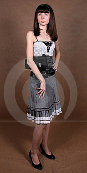 Graceful Girl With A Bag Royalty Free Stock Image - Image: 8449116