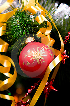 Christmas Balls On Pine Tree Royalty Free Stock Image - Image: 8451496