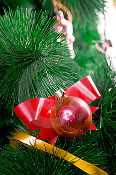Christmas Balls On Pine Tree Stock Image - Image: 8451561
