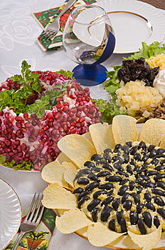 Different Salads And Wine Glass. Royalty Free Stock Image - Image: 8452306