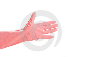 A Pink Glove Isolated On White Royalty Free Stock Image - Image: 8453826