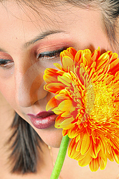 Girl With Flower Royalty Free Stock Photos - Image: 8454068
