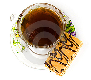Cap Of Tea On Saucer With Cake Stock Image - Image: 8454961